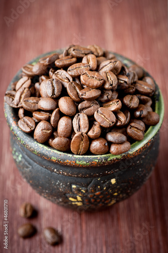 Coffee beans in the old pot