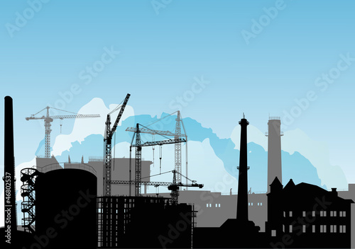 industrial landscape under blue sky