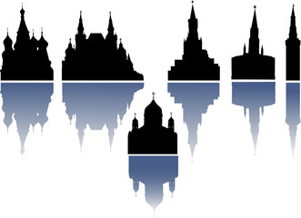 set of cathedrals and towers with reflections