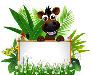 cute horse with blank sign and tropical forest