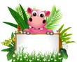 funny hippo with blank sign and tropical forest