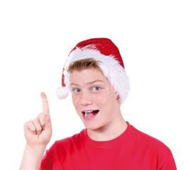 Junger Nikolaus zeigt nach oben