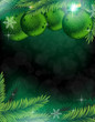 Christmas decorations on a green  background