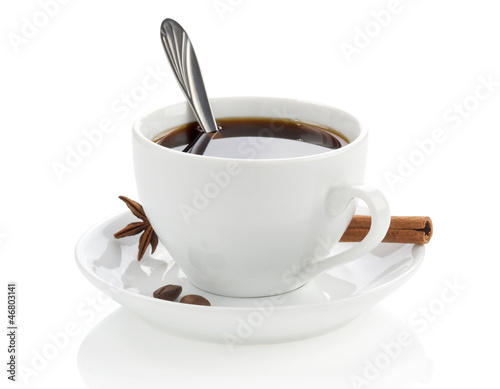 Foto op Canvas Koffie cup of coffee with beans and spoon