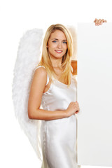 Engel zu Weihnachten mit leerer Tafel