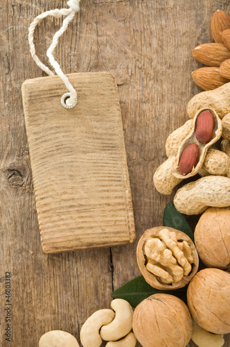 walnut and tag price label on wood