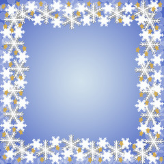 青い背景と雪の結晶のフレーム