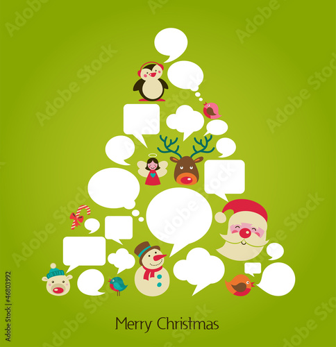 Christmas tree with cute speech bubbles