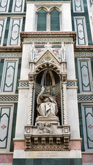 Sculpture on facade of Duomo.Santa Maria del Fiore, Florence, It