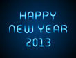 Happy new year neon message vector