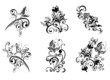Set decorative floral ornament with butterfly