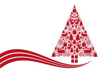 Roter Tannenbaum aus weihnachtlichen Symbolen