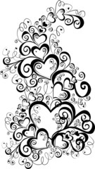 Decorative hearts, element for design, vector