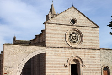 Facade of St. Claire Cathedral in Assisi, Italy