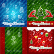 set of Christmas Greeting Cards.Merry Christmas lettering