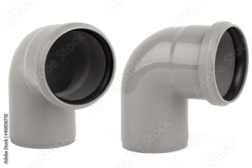Gray pvc pipe isolated on a white background.