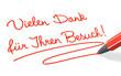 Stift- & Schriftserie: Vielen Dank für Ihren Besuch! rot