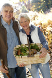 Senior couple in forest holding basket full of ceps mushrooms