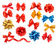 Big set of colour gift bows with ribbons. Vector