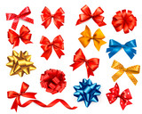 Fototapety Big set of colour gift bows with ribbons. Vector