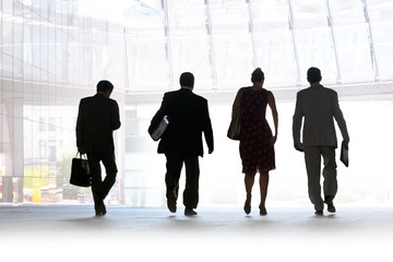 Group of people. Silhouettes on a light background.