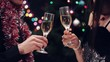 young couple drinking wine at xmas party
