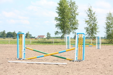 Show jumping vertical barrier at the training field
