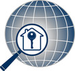 icon with magnifier, key, house and planet silhouette