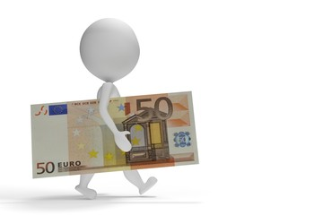 3d small man walking with 50 euro
