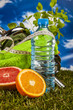 Fitness theme with fruits, blue background