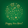 Green Happy New Year Card