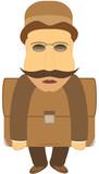 retro grasping mustache man with portfolio poster