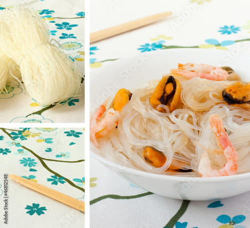 salad of chinese rice noodles and seafood.Collage