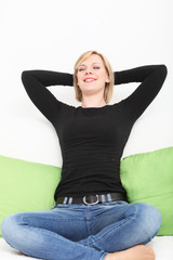Woman sitting back relaxing