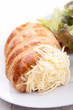rolled puff pastry with cheese and salad
