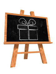 present box on blackboard