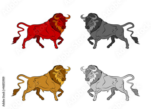 Set of colorful bulls