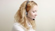 Close up of beautiful blond customer service representative