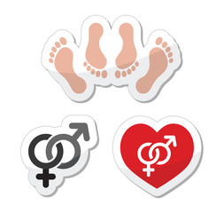 Couple sex, making love icons as labels set