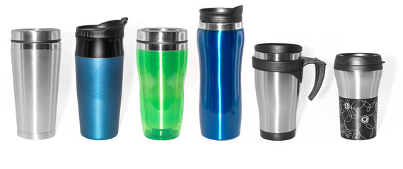 Stainless steel thermos bottles and mugs set
