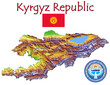 Kyrgyzstan Asia national emblem map symbol motto