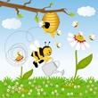 Obrazy na płótnie, fototapety, zdjęcia, fotoobrazy drukowane : Bee watering flower in the forest