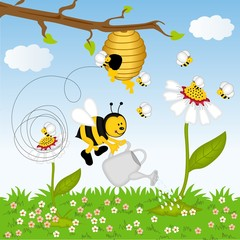 Bee watering flower in the forest