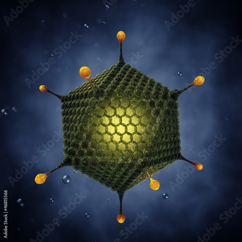 Icosahedral virus , Adenoviridae , 3d illustration