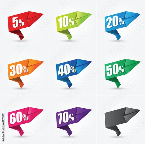 étiquettes soldes papier : origami