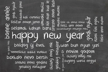 new year word cloud in different language
