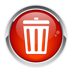 button garbage can red
