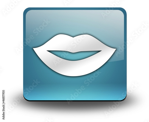 """Light Blue 3D Effect Icon """"Mouth / Lips Symbol"""""""