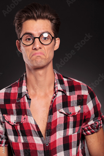ignorant casual man wearing glasses