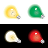 Light bulb in yellow, white, green, red color, vector